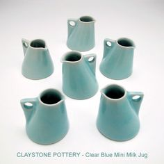 For those oh-so-fancy brunches. Excellent set of Pouring Cream Jugs- available in 3 different sizes and trendy colours including yellow or dark blue by Claystone. Ceramic Pitcher, Ceramic Clay, Ceramic Pottery, Ceramic Jugs, Mini Milk, Pottery Workshop, Buy Gifts Online, Gifts Australia, The Potter's Wheel