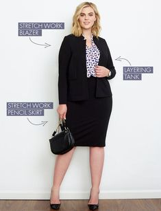 photo plus size Plus Size Workwear Kit: Dresses, Pants, and Blazer… – business professional outfits offices Stylish Office Wear, Work Wear Office, Look Office, Business Casual Outfits For Women, Outfit Office, Office Attire, Office Uniform, Plus Size Business Attire, Office Chic
