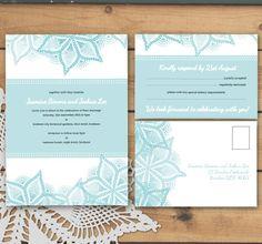 Printable/DIY wedding invitation and RSVP card - contemporary lace design