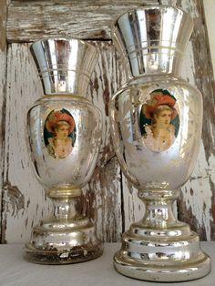 Antique Pair 1900s Mercury Gl Vases Original Paper Image Victorian Figure