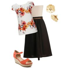 Floral for Spring - Black and Orange by thirty-something-mom on Polyvore featuring polyvore, fashion, style, Wallis and Swedish Hasbeens