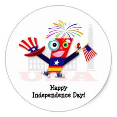 Red Firecracker Independence Day Cartoon Classic Round Sticker - independence day 4th of july holiday usa patriot fourth of july
