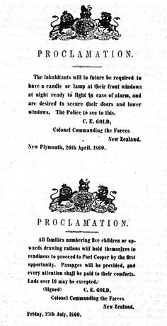 Proclamations under martial law, New Plymouth - This Day in History: Mar 28,1860: First Taranaki War: The Battle of Waireka begins. http://dingeengoete.blogspot.com/