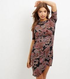 Mela Red Paisley Print Ruched Side Dress