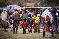 People arriving in Tsechue Festival in Wangdue, Bhutan