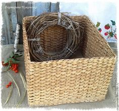 Поделка изделие Плетение Август - месяц золотой Пшеничный короб Трубочки бумажные фото 1