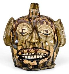 Face Jugs, Greatest Hits, Crock, Stoneware, Auction, Skull, Pottery, Antiques, Red