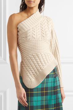 Burberry   One-shoulder cable-knit cashmere sweater   NET-A-PORTER.COM