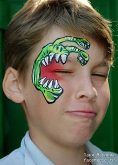 Cute over the eye monster. Face paint by Tanya Maslova. Great for boys.