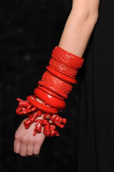 -coral and cinnabar bangles - -St John - in the style of Loulou de la i lov both of these! Coral Jewelry, Ethnic Jewelry, Statement Jewelry, Silver Jewellery, Jewlery, Bangle Bracelets, Bangles, Necklaces, Bijou Box