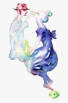 Andrea Massaioni, Nobili Amanti, 2008, acquarello su tela, 25x15 cm in NA.TO., la mostra IGAV che inaugura il 3 ottobre al Castel Sant'Elmo di Napoli