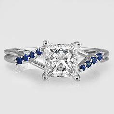 Platinum Chamise Ring with Sapphire Accents // Set with a 1.01 Carat, Princess, Super Ideal Cut, H Color, VVS1 Clarity Diamond #BrilliantEarth