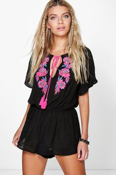 Jenni Embroidered Tassel Romper from boohoo.com