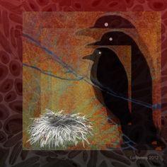 Corvus Familia Sanguis #iphoneart #digitalart #digitalcollage #appart #ravens #nests #art #family #emptynest