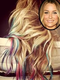 blonde hair with colored tips