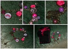 """Handmade bronze bracelet  """"Life is pink"""""""