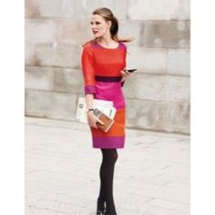 Boden Tunic Dress Viscose Fall Colorblock Sz 6