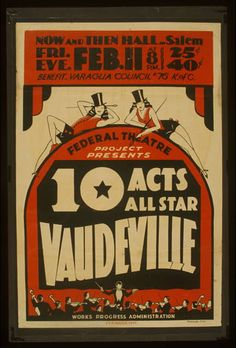 theater, movies, vintage, vintage posters, retro prints, classic posters, free download, graphic design, 10 Acts All Star Vaudeville, Federa...