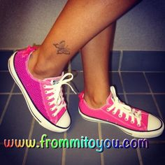 a17da1f5b4441d Custom Converse Chuck Taylor girls hot pink pearl and bow by From Mi To You