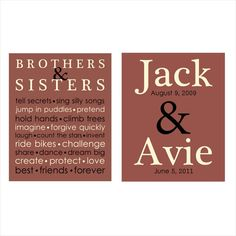 Personalized SIBLING Brother Sister name print by ThePrintsCess, $21.99