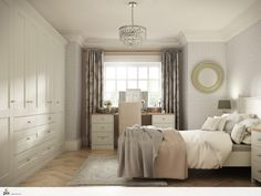 Classic glamour in this large feminine bedroom. Mixing soft patterned wall paper with a cut glass chandelier and oak parquet flooring. The fitted wardrobes in Cream Shaker hide away everyday clutter, with bedside tables and a large dressing table giving plenty of style to relax. Modern Heritage New England feel.