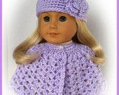 Made For American Girl Dolls, Crochet Cape and Hat Set, Lilac, 18 Inch Doll Clothes, Spring