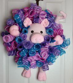 Deco Mesh Piggy Wreath by WreathsbyCrazyLady on Etsy