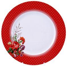 KATIE ALICE Scarlet Posy  RED SPOT  Shabby Chic Dinner Plate 8bcb2b8e13d