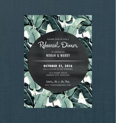Retro Botanical Rehearsal Dinner Invitation // 5x7 DIY PRINTABLE // Vintage…