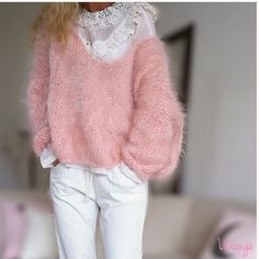 Pink knit candy by 🍭 . Knit Fashion, Womens Fashion, Angora Sweater, Petite Sweaters, Knitting Designs, Autumn Winter Fashion, Knitwear, Casual Outfits, Trends