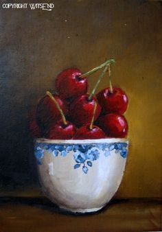 'CHERRIES AND BLUE ROSES', Cherry fruit painting hp original still life art free shipping USA. by WitsEnd, via Etsy. SOLD
