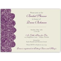 Invite guests to your bridal shower with this lovely cream invitation with plum lettering and a plum lace border.