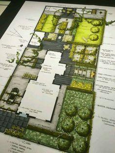 Home Garden Landscape Plans; Butterfly Garden Landscape Plans via Landscape Gardening Ideas For Small Gardens Landscape Architecture Drawing, Landscape Model, Landscape Sketch, Landscape Design Plans, Garden Design Plans, Garden Architecture, Landscape Drawings, Architecture Plan, Landscaping Design