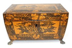 Elegant, finely worked penwork box, ca.1840. The front and back of the box are decorated with a grapevine motif and the two sides show dramatic landscapes framed by grapevine borders. 9 1/2 x 6 1/2""