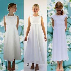 Übersicht Kommunionkleider Bridesmaid Dresses, Wedding Dresses, Elegant, White Dress, Handmade, Fashion, Fashion Styles, Rock Legends, Communion Dresses