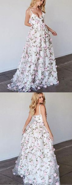 Cute floral tulle long prom dress with straps