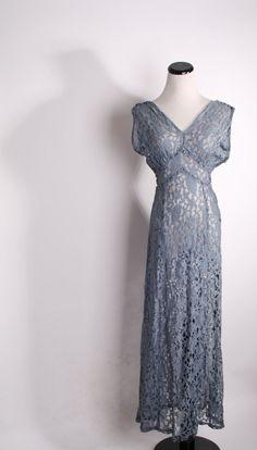 Art Deco Vintage 1930s Dove Blue Gray Grecian Goddess Dress / Long Dress / Blue Lace Wedding Dress / 1930s  / 30s  / Dress / Dresses / 1219. $290.00, via Etsy.