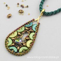 Osmunda - zawieszka z kryształem w oprawie Brick Stitch, Metallica, Pendant Necklace, Stone, Jewelry, Blog, Fashion, Ideas, Bows