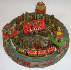 Vintage New York City US Post Office Louis Marx Co Tin Litho Wind Up Toy