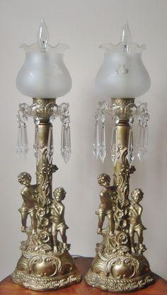 Pair Antique Victorian Cherub & Flower Candlestick Boudoir Lamps Putti Angels Children