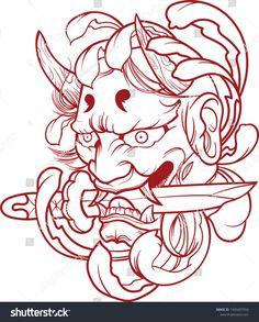 Chinese tattoo designs, tattoos for gi. Japanese Demon Tattoo, Japanese Sleeve Tattoos, Illustration Vector, Japanese Illustration, Tattoo Sketches, Tattoo Drawings, Chinese Tattoo Designs, Chinese Tattoos, Hannya Maske Tattoo