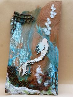 """Best 12 Mixed Media – Journal """"Under da sea, under da sea."""" I made the mermaid tail, anchor and little fish from polymer clay. By Heather at Heather's Craft Studio – SkillOfKing. Mermaid Crafts, Mermaid Diy, Vintage Mermaid, Ocean Crafts, Beach Crafts, Seashell Art, Seashell Crafts, Mermaid Canvas, Art Rupestre"""