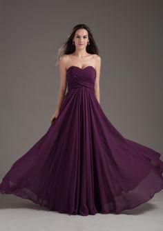 2013 Popular Bridesmaid Dress Sweetheart Empire Dark Purple Ruching Chiffon - US$96.69