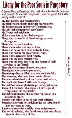 Catholic Litany for the Poor Souls in Purgatory Catholic Beliefs, Catholic Quotes, Religious Quotes, Christianity, Catholic Prayers Daily, Catholic Traditions, Catholic Bible, Religious Symbols, Catholic Saints