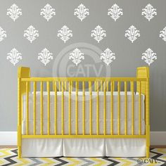 Damask set of 18 vinyl wall decal self adhesive wall pattern stickers Nursery room decor Wall Stickers Murals, Wall Decal Sticker, Vinyl Decals, Damask Wall, White Damask, Girl Decor, Nursery Room Decor, Wall Patterns, White Vinyl