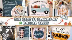 10 FALL & HALLOWEEN Dollar Tree DIYs   The BEST Dollar Tree BLANKS Turned To HIGH-END Home Decor! - YouTube Dollar Tree Fall, Friends Instagram, Sola Wood Flowers, Dixie Belle Paint, Trash To Treasure, Drawing Skills, Paint Pens, Craft Kits, Fall Halloween