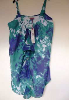 M&S Women Per Una Green/Blue Frill Front Strappy Floaty Chiffon Top Blouse Lined