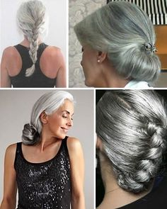 Stunning silver and gray hairstyles. To learn more about the hair clip in the top right pic, visit Pelo Color Plata, Elegant Hairstyles, Gray Hairstyles, Scene Hairstyles, Grey Hair Styles For Women, Silver Haired Beauties, Silver White Hair, Gray Hair Growing Out, Long Gray Hair