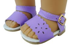 """Lavender Sandals made for 18"""" Dolls such as American Girl Doll. Lavender. Sandals. 2 5/8 inches long by 1 1/2 inches wide. Also Fits Bitty Baby & Bitty Baby Twins. Buckle Closure."""