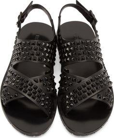 Dsquared2 Black Leather Polished Rockstud Sandals